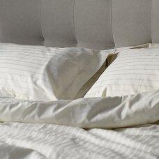 Satino užvalkalai pagalvėms KREMINIS JUOSTUOTAS 6 mm