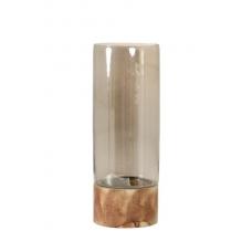 ANDRIA stiklinė žvakidė su mediniu stovu